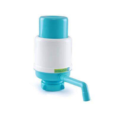 Royalford RF7785 Water Pump - Dolphin water pump Water Bottles Pump Manual Water Bottle Pump, Easy Drinking Water Pump, Easy Portable Manual Hand Press Dispenser Water Pump White & Blue