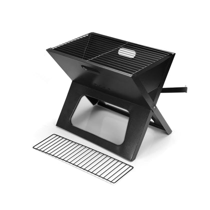 Royalford RF9764 Foldable BBQ - Portable Charcoal Barbecue Grill, BBQ Grill Iron Foldable Barbecue Smoker Grill Barbecue Desk | Air Vent | Comfortable with Grip Handle | Perfect for Camping Picnic Outdoor