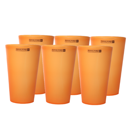 Royalford 6Pcs 470ml Wafer Water Glass - Portable Water Cup Drinking Glass | Wide Mouth | Ideal for Party Picnic BBQ Camping Garden | Ideal for Water Wine Whisky Drinking & More (Orange)