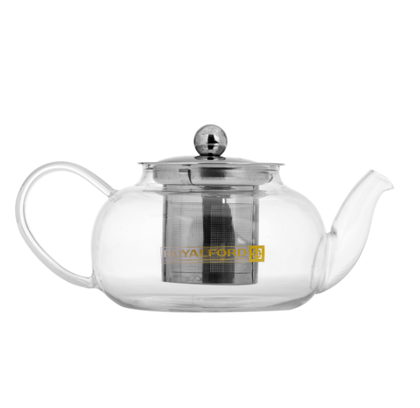Royalford RFU9086 600 ML Glass Tea Pot – Stainless Steel Lid & Strainer, Dishwasher Safe, Heat Resistant, Elegant Design – for A Delicious Cup of Coffee/Tea