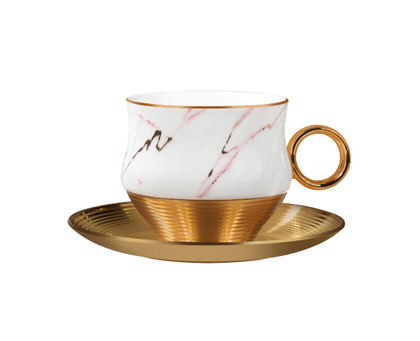 Royal ford  RF9637 Royalford 12 Pcs Porcelain Tea Cups with Saucer 48.5cm*23.5cm*8.5cm - Made up of High Quality Material for Regular Use Heat Resistant | Dishwasher Safe | Ideal for Tea, Coffee, Latte, Cappuccino or Espresso (200 Ml)