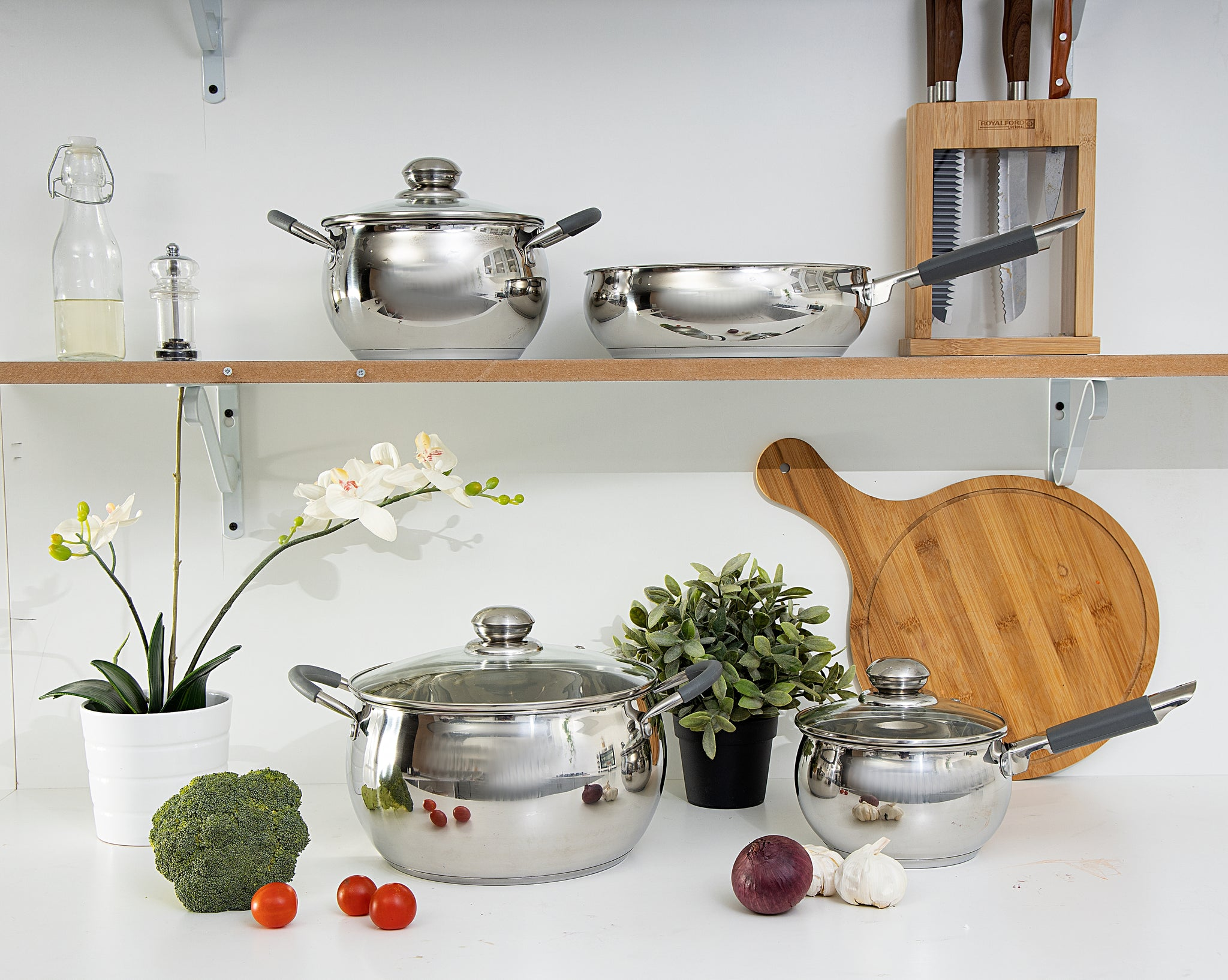 Royalford RF5123 Stainless Steel Cookware Set, 7 Pcs