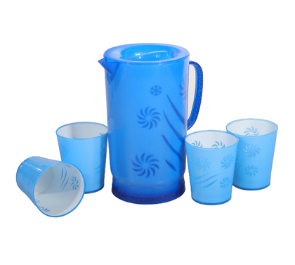 Delcasa DC1347 2 Litre Water Jug with 4 300ML Glasses  - Portable Multi-Purpose Blue Jug with Lid for Water Picnic Juice, Durable Plastic, Spill-Proof Lid | Household, club, pub, bar, coffee shop, restaurant & More (Blue)