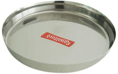 Royalford 13-inch Stainless Steel Thali Plate - Round Quarter Plate | Dishwasher Safe | Thali for Multi-Purpose | Ideal for Home, Hostel, Hotel & Restaurants