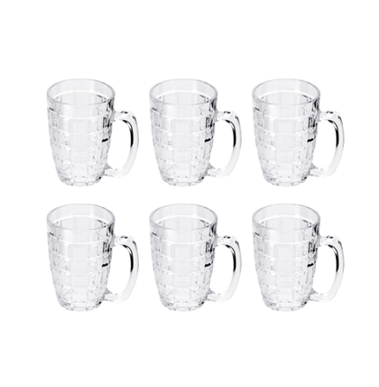Delcasa 6PC Classic Beer Tankards, Beer Mugs, Beer Steins - 6 Pint Glass Beer Tankards - Juice Drinking Tall Glasses, 9oz/260ml - Dimpled Beer Tankard, Beer Glasses - Perfect for Home, Restaurants & Parties