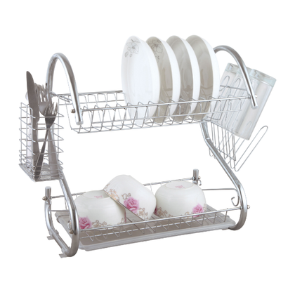 Delcasa Kitchen 2 -Tier Stainless Steel Dish Drainer Rack - Utensil Holder, Drying Rack, with Plastic Trays & Organization Shelf - Compact, Durable & Easy to Assemble