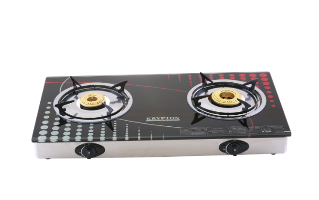 -Double Gas Burner - Stainless Steel Frame and Tray - 2 Burner (90mm,70mm) - Flame Gas Burner with 8mm Tempered Glass - Flame Failure Safety Device- Piezo Auto Ignition