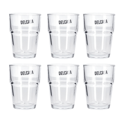 Delcasa 6PC Tumbler Glass Set, 7oz/200ml - Tumbler Glass for Drinking Tea - Transparent, Sleek Design with Broad base & Mouth - Tea Glasses set, Perfect for Home, Restaurants and Parties