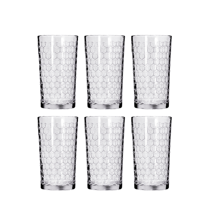 Delcasa 6PC Tumbler Glass Set,  9oz/260ml - Honey Comb Tumbler Glass for Drinking Water /Juice /Milkshakes /Milk /Hot Beverages - Transparent, Broad Mouth - Perfect for Home, Restaurants & Parties