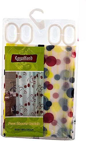 Royalford Peva Shower Curtain 180 x 180cm - Portable Lightweight Fabric Bathroom Decor Set with Hooks | Multi-Purpose, Water Proof | Ideal for Home, Guest room, Hotel Bathroom (Multi Colour Bubble)