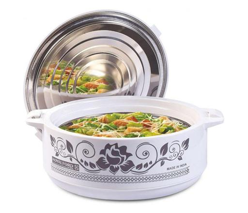 Royalford RF8957 - 4.5L Jumbo King Insulated Hot Pot | Stainless Steel Insulated Serving Dish with Lid | Hot Food Storage Containers, Food Warmer & Storage Saver for Everyday Use | Keeps Food Warm or Cold