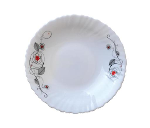 Royalford RF6737 - 9.5-inch Opal Ware Soup Plate Liza -  Soup Plates Pasta Plates | plate with playful Classic decoration | Ideal for Soup, Desserts, Ice Cream & More (White)