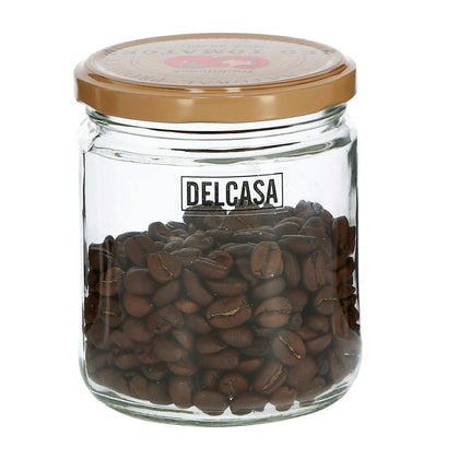 Delcasa DC1752 400ml 6Pc Glass Storage Jar - Air-proof Glass Jar - Healthier Choice, Maximum Freshness and Dishwasher Safe -Food Storage Container with Lid, Airtight Sealed Glass Container - Durable and Transparent