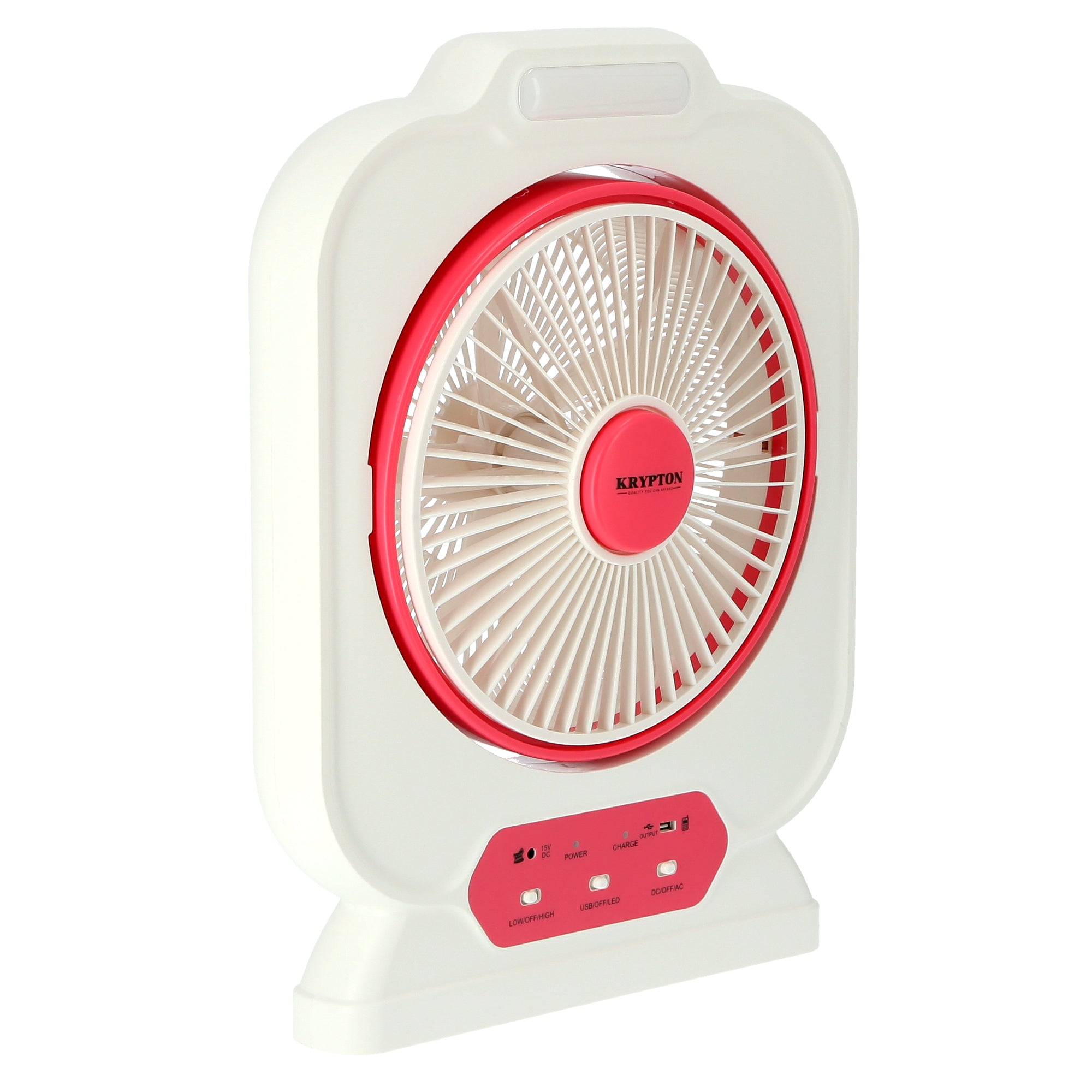 12'' Rechargeable Box Fan - Personal Desk Fan with - Personal Desk Fan with LED Night Light - Electric USB Fan for Office, Home & Travel Use - 10 Hours Working