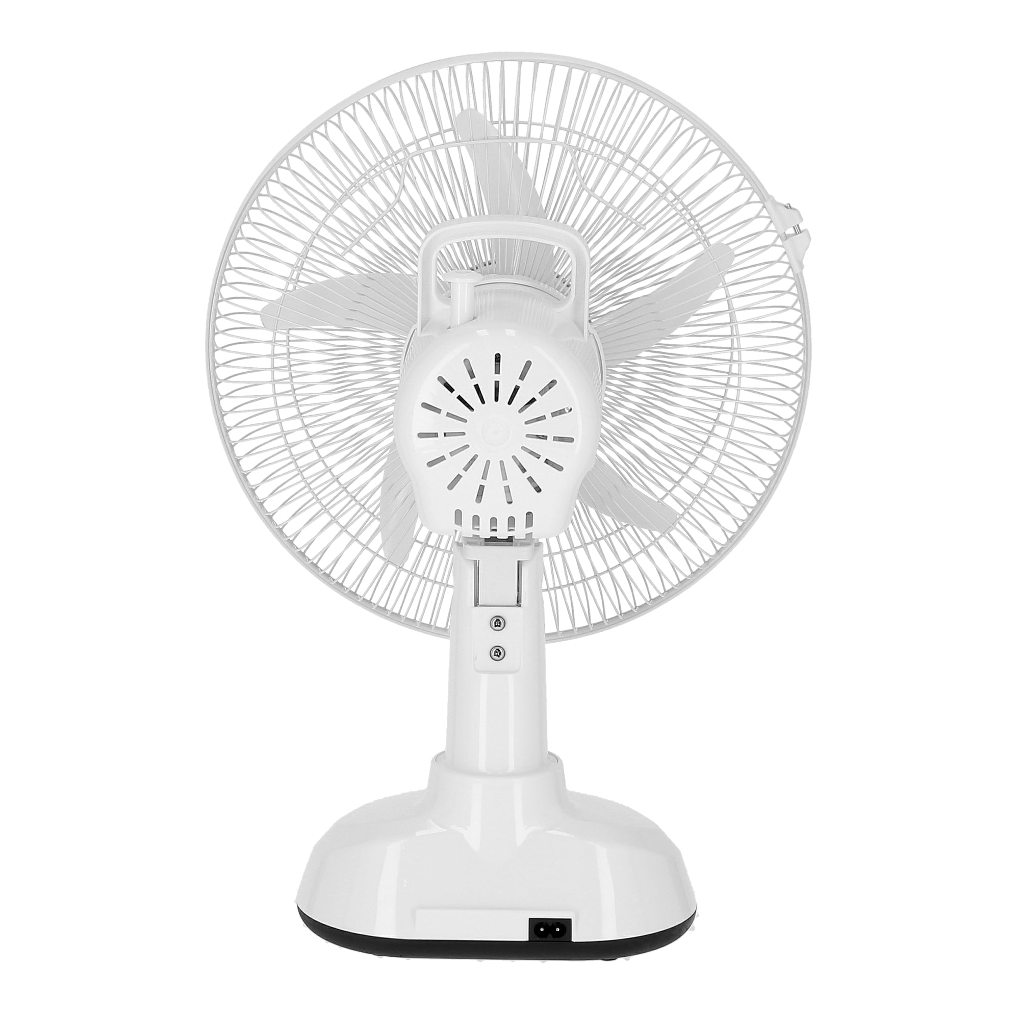 12-Inch Table Fan with LED - 2 Speed Settings with Oscillating/Rotating and Static Feature - Electric Portable Desktop Cooling Fan for Desk Home or Office Use