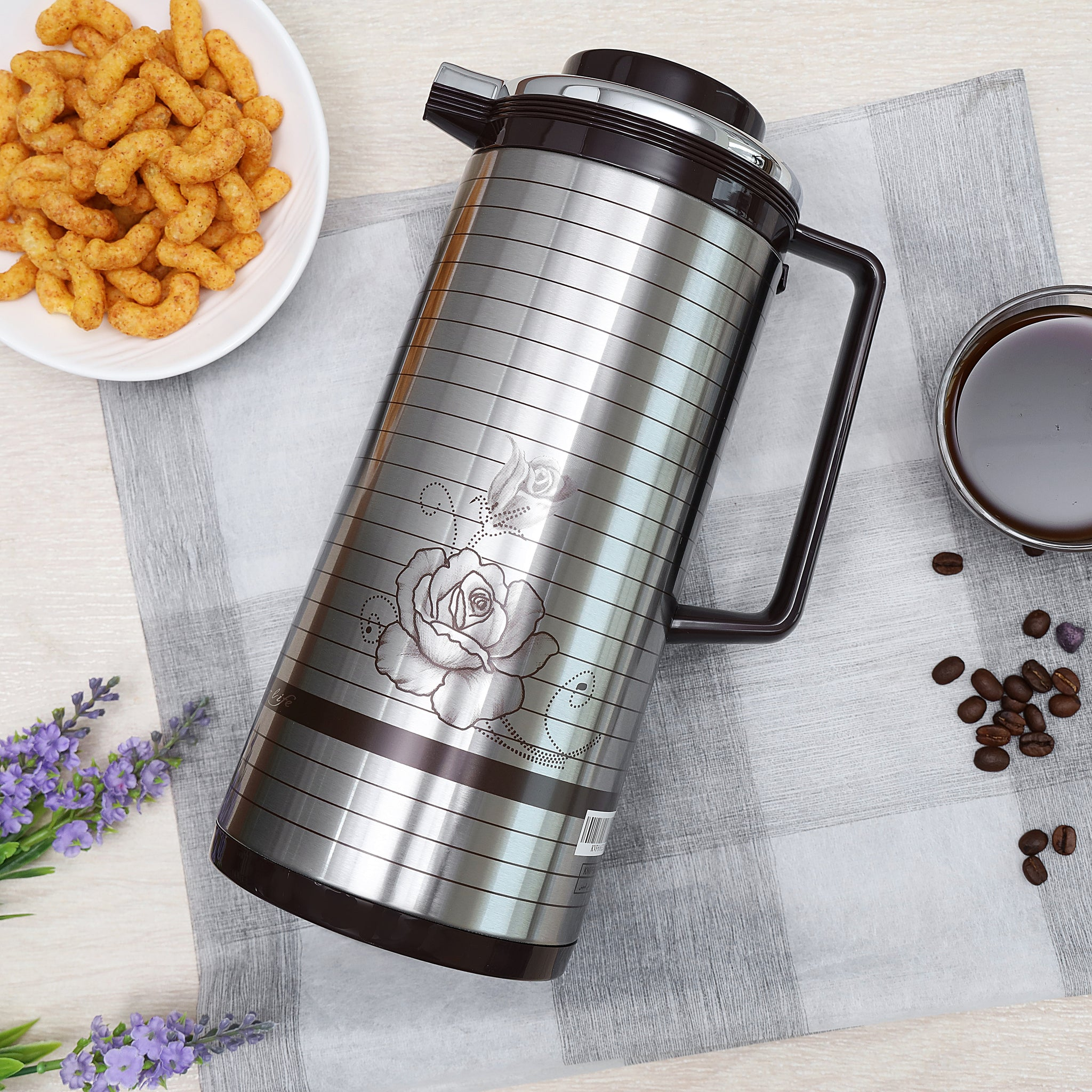 1.3 L Glass Vacuum Flask, Vacuum Flask - Insulated Flask Bottle - Thermos Flask with Double Wall Design -Jug Flask, Vacuum Thermo Airpot, Hot & Cool, Portable - Indoor Outdoor Use