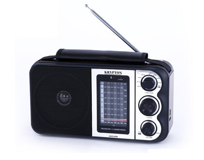 900mAh Rechargeable Radio | BT/USB/SD/BT | Excellent Sound Quality | Lightweight Portable FM Radio | 8 Bands Radio | Stylish Retro Design