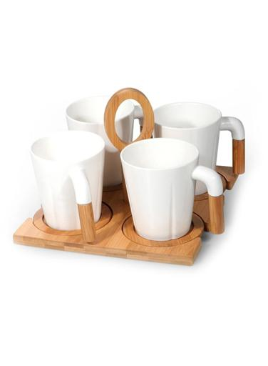 Royalford Porcelain Tea Set with Bamboo Stand & Coaster - Bamboo Bottle Caddy with Opener & Sampler Boards, Drink Holder for Tea, Coffee, Perfect for Home, Restaurant, Brew Fest Party, and More