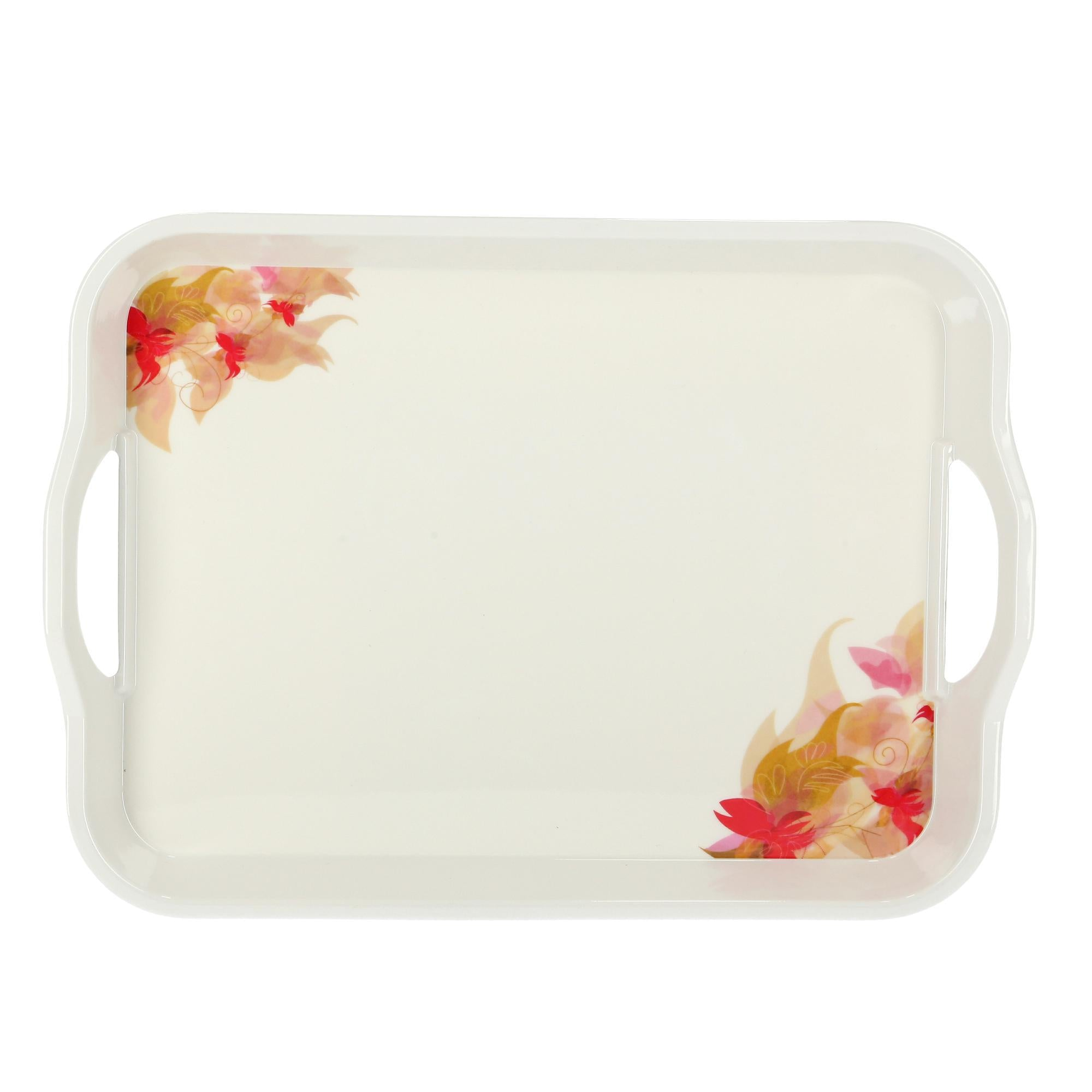 Royalford RF5063 Melamine Flower Carnival Handle Tray, 17.5 Inch