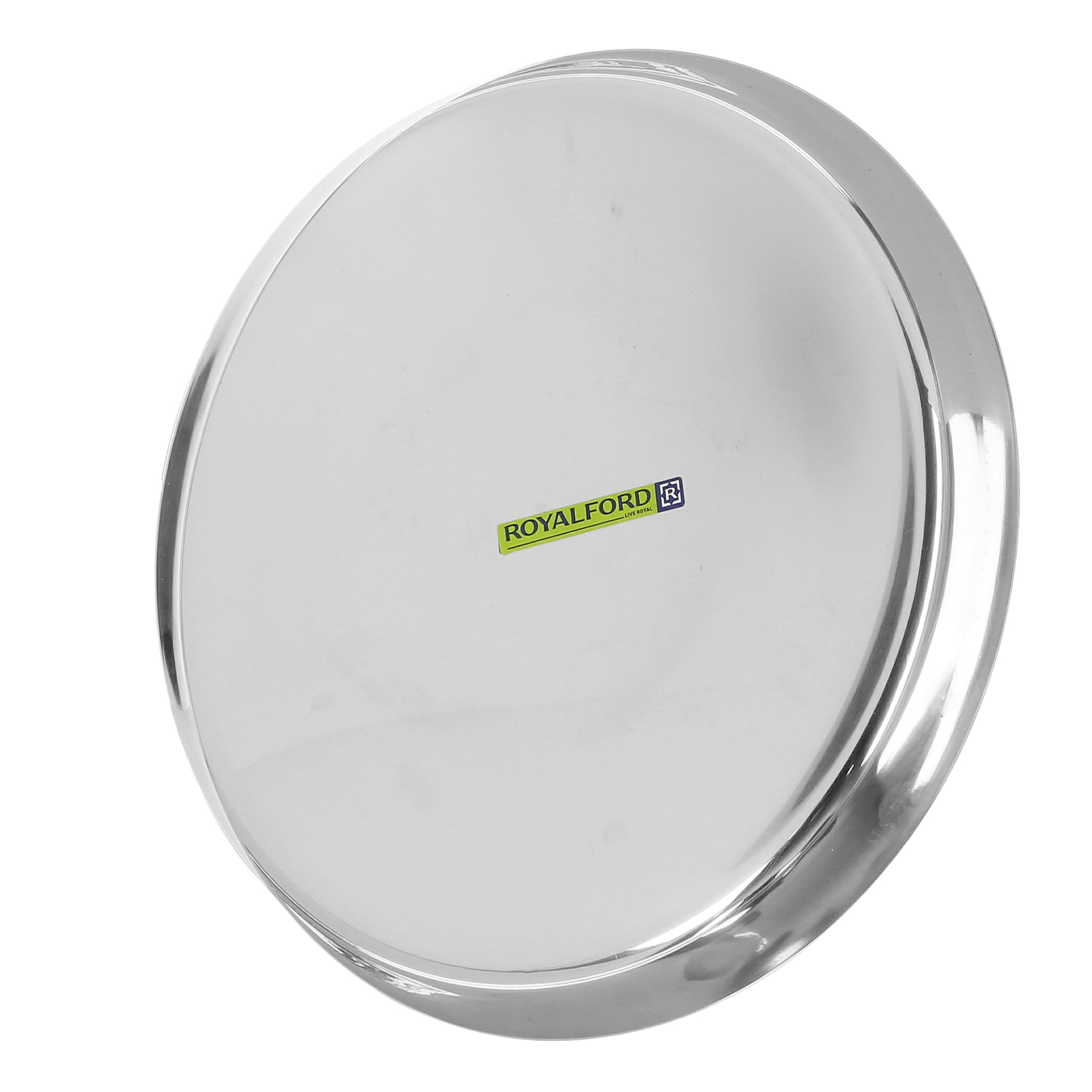Royalford RF5339 14-inch Stainless Steel Thali Plate - Round Quarter Plate | Dishwasher Safe | Thali for Multi-Purpose | Ideal for Home, Hostel. Hotel & Restaurants