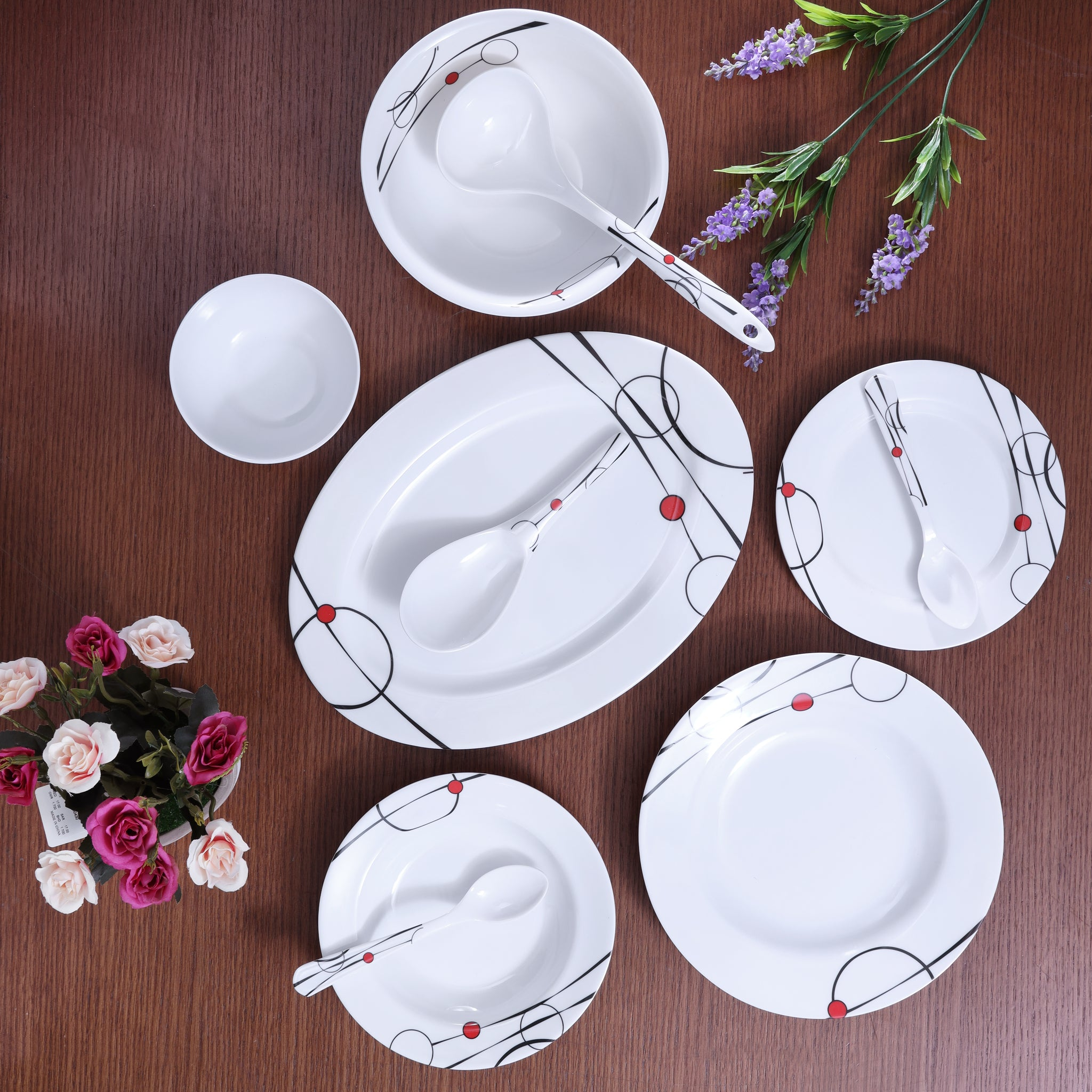 Royalford RF6719 Melamine Ware Dinner Set, 45 Pcs