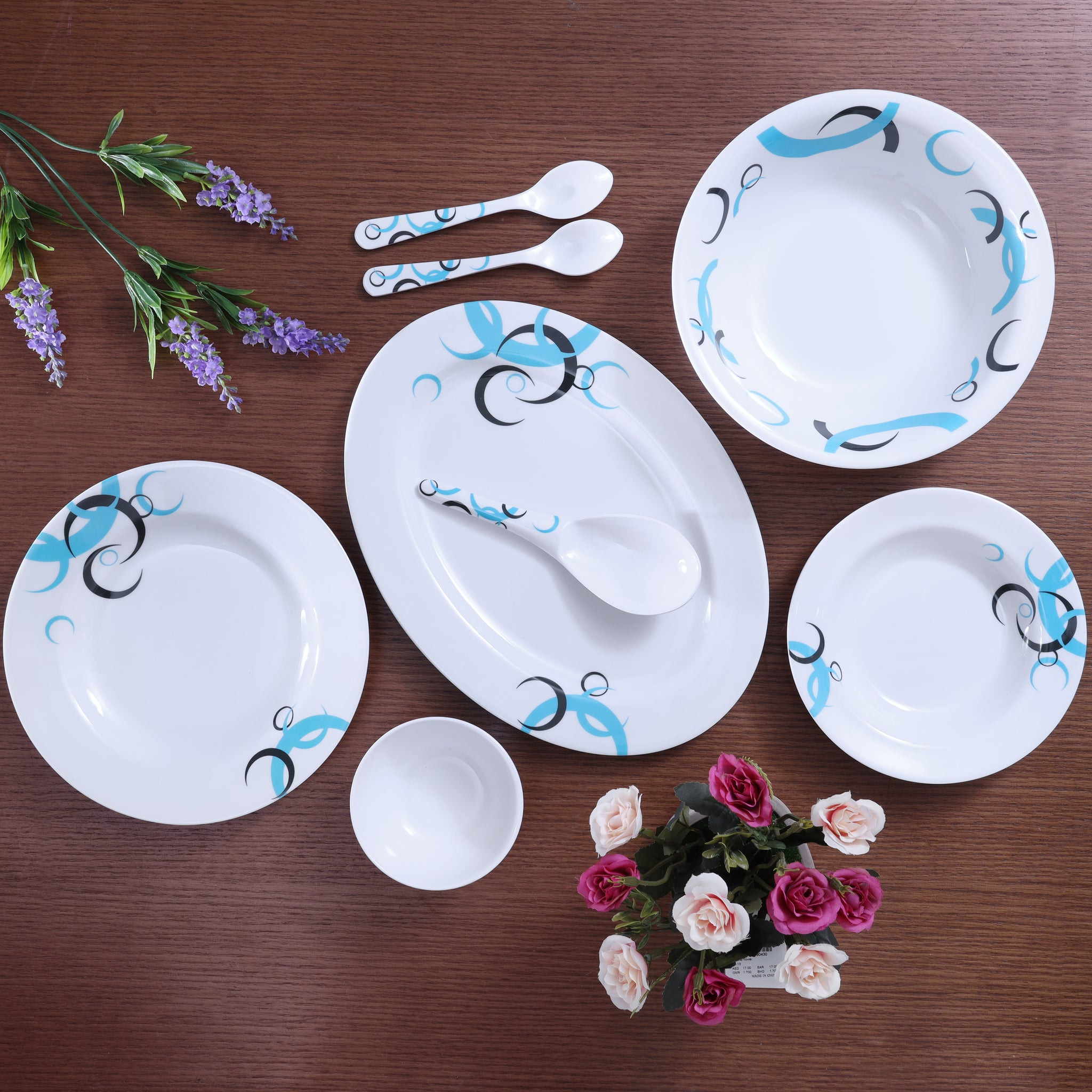 Royalford RF6722 Melamine Ware Dinner Set, 27 Pcs