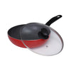 Royalford RF8513 24Cm Long Handle Non Stick Wokpan - Frying Pan , Black-Coated Aluminum Saucepan Cookware | Non-Stick Coating | Resistant Long Handle Heat with Comfortable Grip| Perfect For Frying, Steaming, Roasting, Making Soup & More