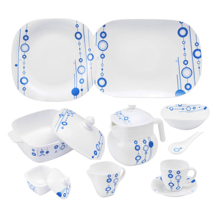 Royalford RF9760 97Pcs Opal Ware Dinner Set - Floral Design Plates, Bowls, Spoons, Cup & Saucer Tea Pot | Comfortable Handling | Ideal for Everyday Use, Family Get- Together, Restaurant, Banquet (Blue Design)