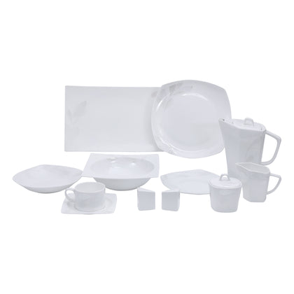 Royalford RF9786  39-Pcs Opal Ware Dinner Set - Portable Design Plates, Bowl, Pots, Cup & Saucer | Comfortable Handling | Perfect for Family Everyday Use, & Family Get- Together, Restaurant, Banquet & More