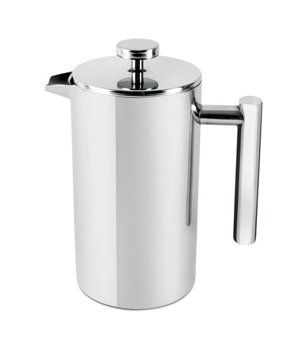 Royalford RFU9016 Cafetiere Stainless Steel Portable French Press Coffee Maker | Leak Resistant Double Walled Insulation | Hot Coffee for Hours – Preserves Flavour and Freshness (Silver, 1L)