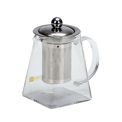 Royalford RFU9085 550 ML Glass Tea Pot – Stainless Steel Lid & Strainer, Dishwasher Safe, Heat Resistant, Elegant Design – for A Delicious Cup of Coffee/Tea