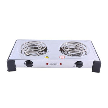 2000W Stainless Steel Double Burner Hot Plate for Flexible Precise Table Top Cooking - Cast Iron Heating Plate - with Temperature Control for Home, Camping & Caravan Cooking