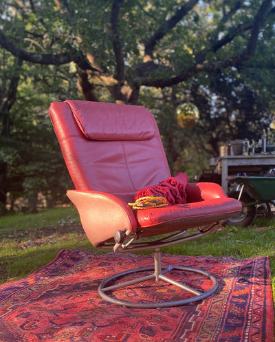 Mid-Century Red Leather Arm Chair