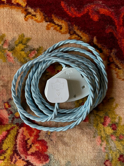 Lola's Leads - Powder Blue 3m | Coloured Fabric Extension Cable
