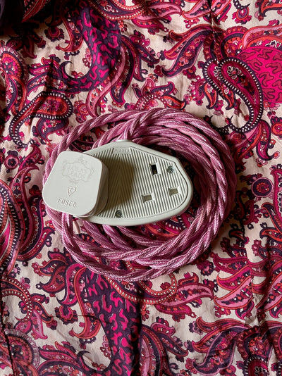 Lola's Leads - Ice Pink 2m | Coloured Fabric Extension Cable
