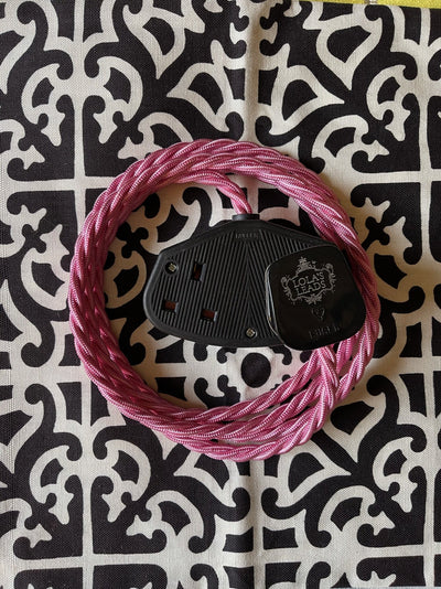 Lola's Leads - Blancmange 2m | Coloured Fabric Pink Extension Cable