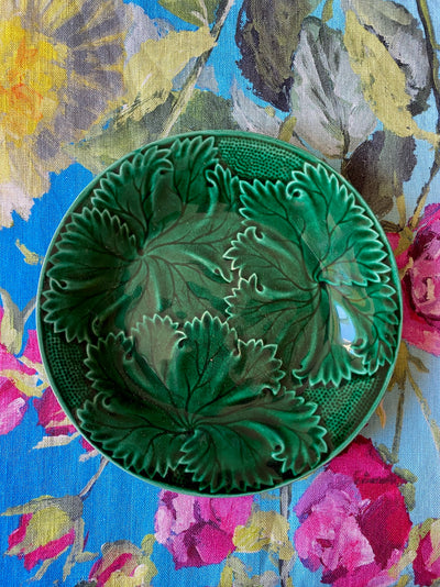 Antique Green Majolica Grape Leaves & Dots Plate