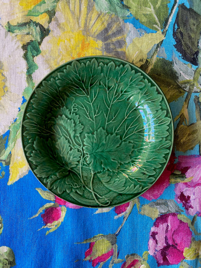 Antique Green Majolica Grapevine & Dots Plate