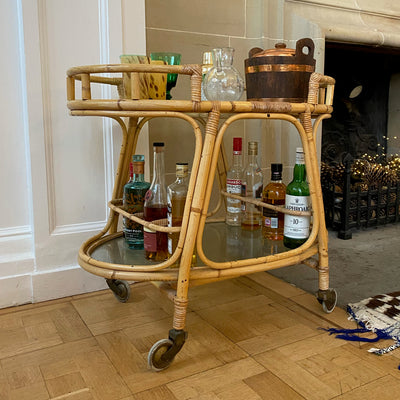 Mid Century Bamboo & Glass Bar Cart