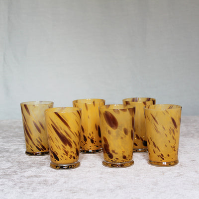 yellow leopard glass tumblers