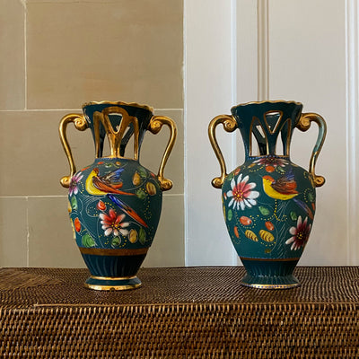Pair of H. Bequet Teal Hand-painted Vases Quaregnon Belgium