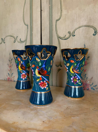 Trio of Hand-painted H. Bequet Column Vases