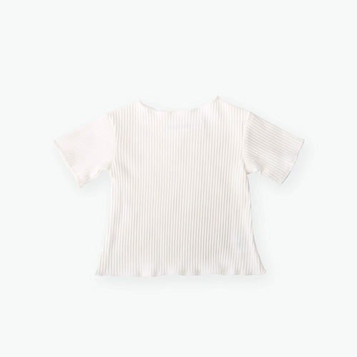 Precious April Ally Ribbed Ruffle Cotton Top. White ribbed cotton top for baby and children.