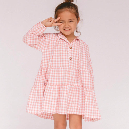 Mini Avalon Smock Dress in Candy Pink Gingham Print. Linen loungewear by The Lullaby Club.