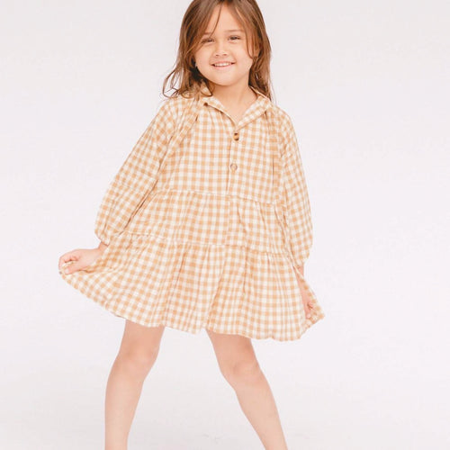 Mini Avalon Smock Dress in Caramel Gingham Print. Linen loungewear by The Lullaby Club.