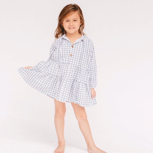 Mini Avalon Smock Dress in Blue Gingham Print. Linen loungewear by The Lullaby Club.