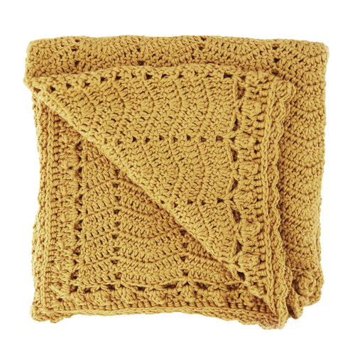 Handmade Crochet Baby Blanket - Tumeric Yellow Baby heirloom blanket