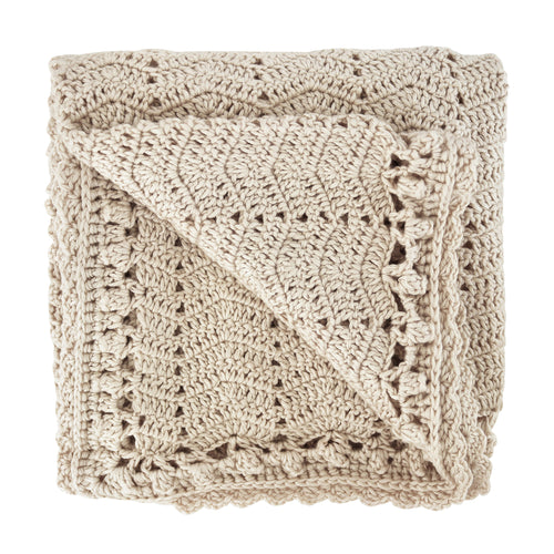 Handmade Crochet Baby Blanket - Vanilla natural baby heirloom blanket