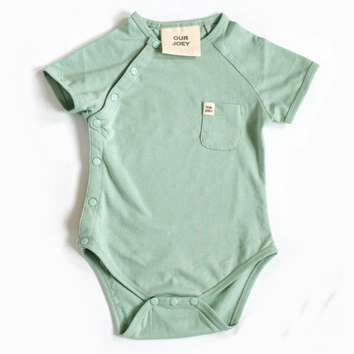 Our Joey Organic Short Sleeve Bodysuit - Aqua Foam