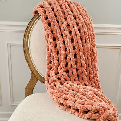 Chenille Chunky Knit Blanket - Canyon Clay